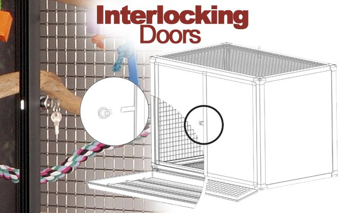 hybrid interlocking bird cage doors