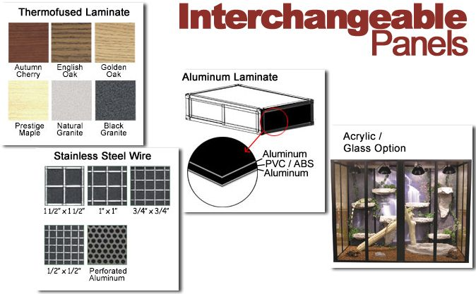 Interchangeable Panels for Reptile Cages
