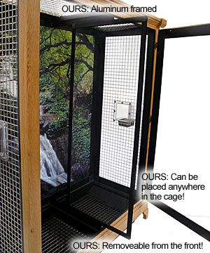 Our Majestic bird cage removable dividers are framed in aluminum and can be put anywhere in the cage