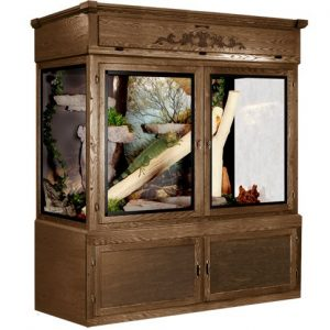 MR06 Reptile Cage - Ultimate Package*, Dark Walnut Stain, with Stone Grotto Background Shown