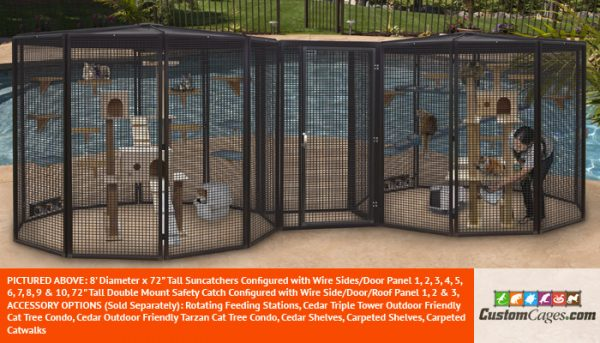 """8' Diameter x 72"""" Tall Large Double Cat Cage 2"""