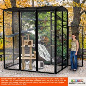 "96""H x 90""L x 60""D Large Outdoor Cat Cage - 1"